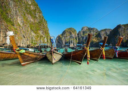 Longtail boats in Maya Bay, Koh Phi Phi Leh, Krabi, Thailand