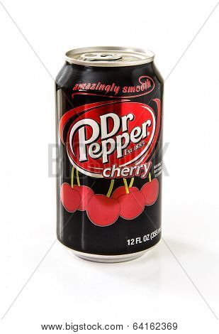MOSCOW - APRIL 29, 2014: Closeup of aluminum red can of Dr Pepper Cherry. Dr. Pepper is now manufactured by the Dr Pepper Snapple Group, Inc.