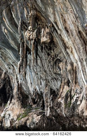 Limestone stalactite and stalagmite textures in a cliff of the Phang Nga bay, Thailand