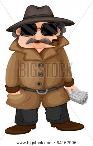 Illustration of a detective on a white background
