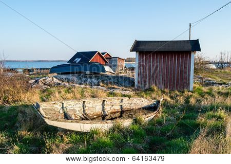 Old Weathered Boat On Land
