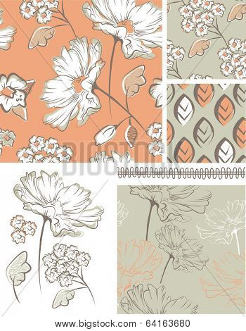 Summer Floral Seamless Patterns and Icons. Use as fills, digital paper, or print off onto fabric to create unique items.
