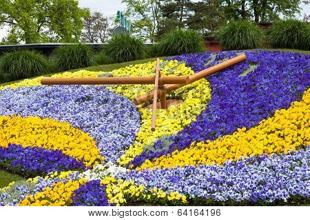 Beautiful And Colorful Floral Clock In Geneva Switzerland - Swiss Horology Symbol