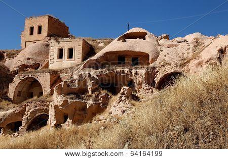 houses sculpted from tufa, Cappadocia, Turkey