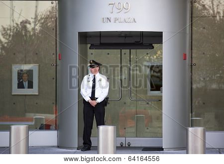 Security officer in the front United States mission to The United Nations