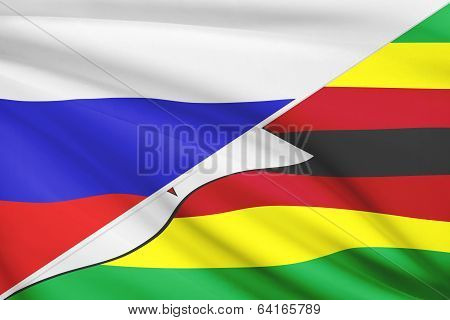 Series Of Ruffled Flags. Russia And Republic Of Zimbabwe.