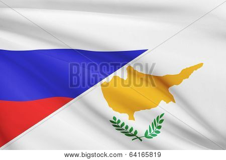 Series Of Ruffled Flags. Russia And Republic Of Cyprus.