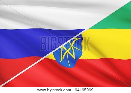 Series Of Ruffled Flags. Russia And Federal Democratic Republic Of Ethiopia.
