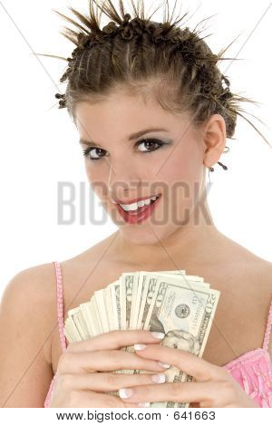 Beautiful Teen With Cash