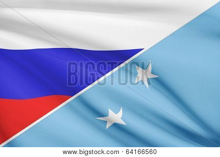Series Of Ruffled Flags. Russia And Federated States Of Micronesia.