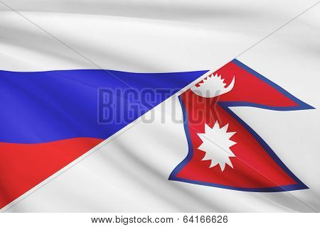 Series Of Ruffled Flags. Russia And Federal Democratic Republic Of Nepal.