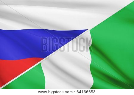 Series Of Ruffled Flags. Russia And Federal Republic Of Nigeria.