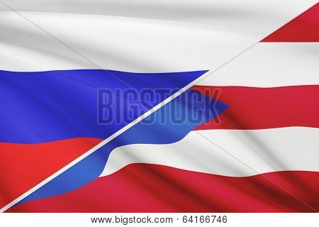 Series Of Ruffled Flags. Russia And Commonwealth Of Puerto Rico.