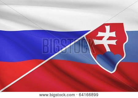Series Of Ruffled Flags. Russia And Slovak Republic - Slovakia.