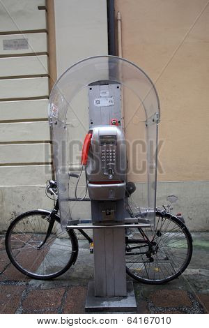BOLOGNA, ITALY - APRIL 19, 2014: A Telecom Italia public telephone in Bologna, Italy, on Saturday, April 19, 2014.