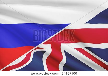 Series Of Ruffled Flags. Russia And United Kingdom Of Great Britain And Northern Ireland.