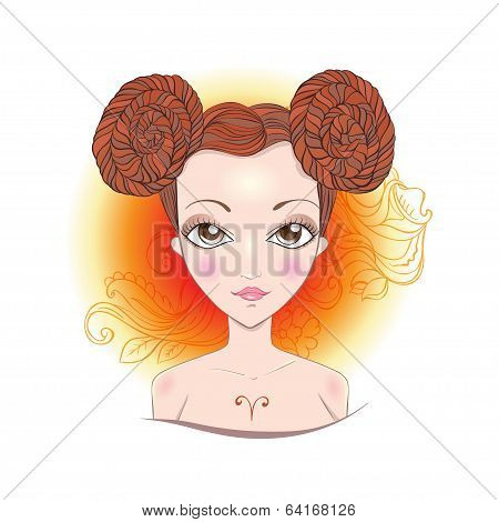 Vector illustration of Aries zodiac sign.