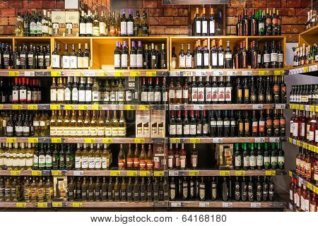 Wine Bottles On Supermarket Stand