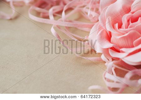Beige Linen With Pink Rose As Abstract Texture