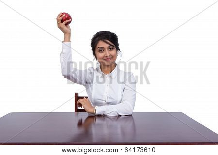 Businesswoman with an apple