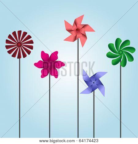 colorful pinwheel toys eps10