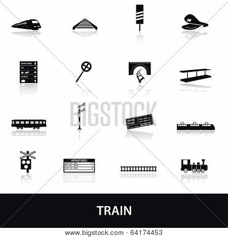 train and railway icons eps10