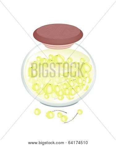 Delicious Preserved Star Gooseberry In A Jar