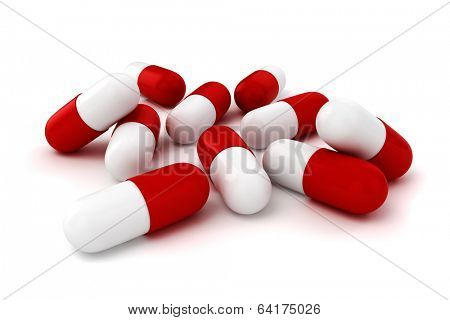 3d capsule pills  on white background
