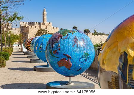 JERUSALEM, ISRAEL - AUGUST 21, 2013: 18 big globes exposed in Old City of Jerusalem as part of Cool Globes project show ideas for solutions and raise awareness for the problem of global warming.