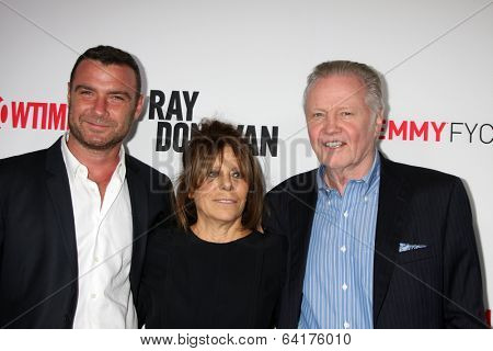 LOS ANGELES - APR 28:  Liev Schreiber, Ann Biderman, Jon Voight at the