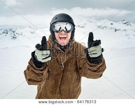 Joyful Snowboarder