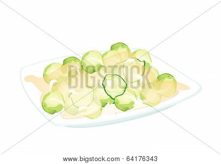 Stir Fried Brussels Sprout On A White Plate