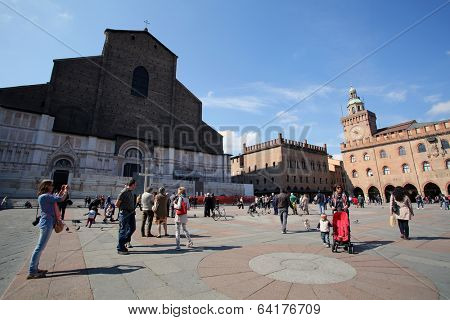 BOLOGNA, ITALY - APRIL 19, 2014: A general view of the basilica in Bologna, Italy, on Saturday, April 19, 2014.