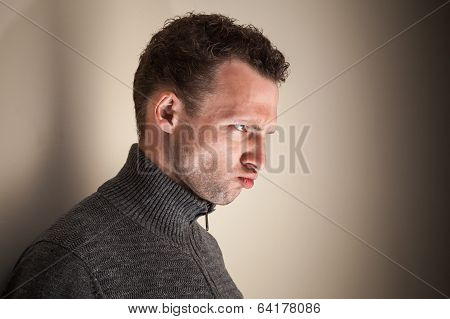 Angry Emotional Young Caucasian Man Black And White Portrait