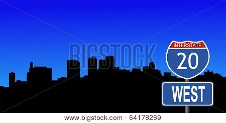 Birmingham skyline with interstate 20 sign vector illustration
