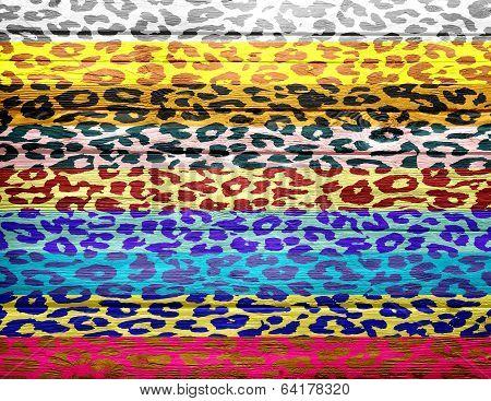 leopard print overlays vintage wood background
