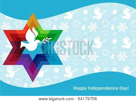 independence day of Israel, david star and peace white dove