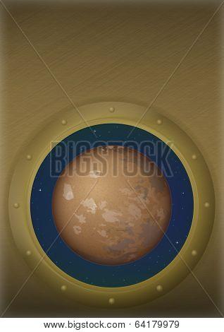 Planet Mars in space window