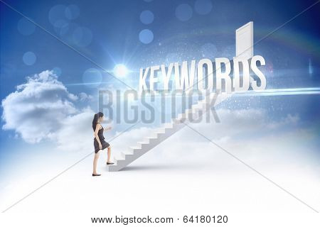 The word keywords and businesswoman stepping up against steps leading to closed door in the sky