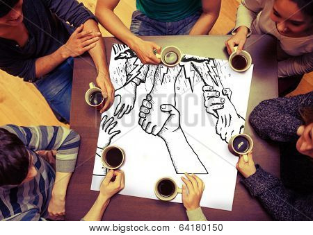 Composite image of bankruptcy and debt doodle with helping hands on page with people sitting around table drinking coffee