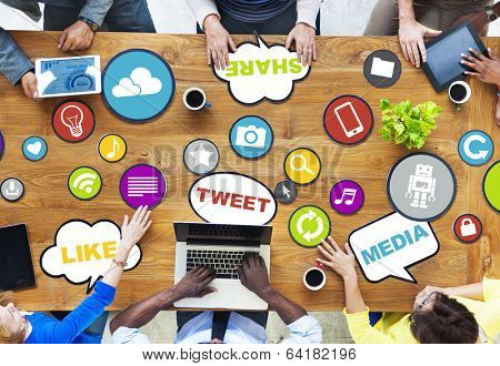 People Connecting and Sharing Social Media