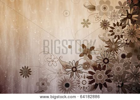 Digitally generated girly floral design in sepia