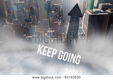 The word keep going against road turning into arrow