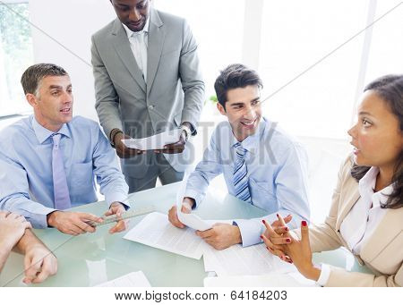 Group of Corporate People Having a Business Conversation
