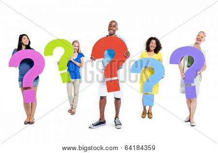 Group of people holding question mark bubbles.