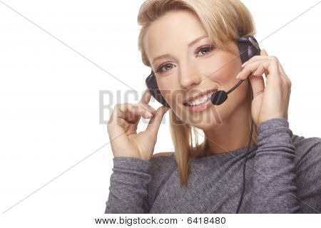 Close-up Portrait Of Friendly Secretary/telephone Operator