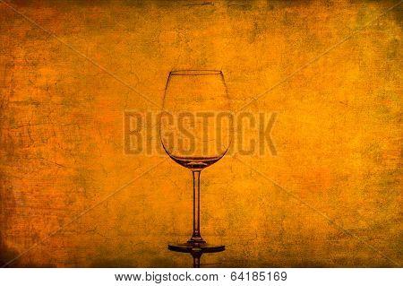 Empty Wine Glass On Nice Rusty Vintage Texture