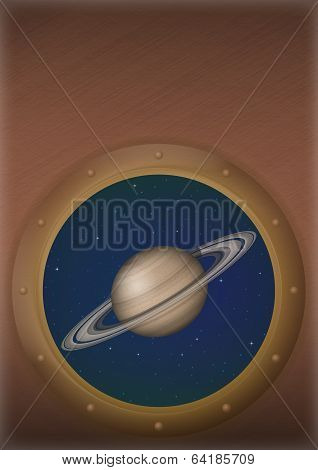 Planet Saturn in space window
