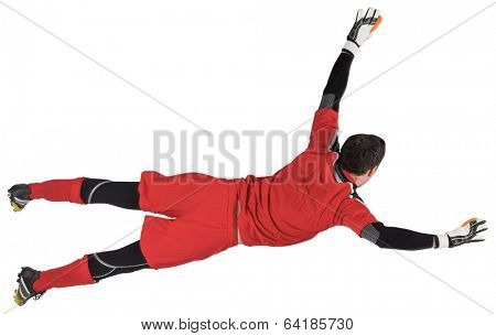 Fit goal keeper jumping up on white background