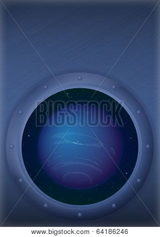 Planet Neptune in space window